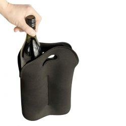 2 Bottle Stubby Black Wine Full Colour Branding